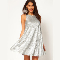 Popular Womens Fashion Elegant Silver Sequin Sleeveless Cute Doll Party Dress Evening Cocktail Casual Long One Piece Dress _ 3373