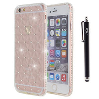 iPhone 6S Case, iYCK [3D Prism] Soft Flexible TPU Rubber Gel Crystal Clear [Studded Full Frame and Back] Diamond Bling Rhinestone Protective Shell Back Case Cover for iPhone 6/6S 4.7 inch - White