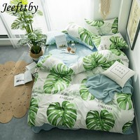 Jeefttby Home Textile Green Banana Leaf Bed Linens 3/4pcs Bedding Sets Bed Set Duvet Cover Bed Sheet Pillowcase Bedclothes Queen