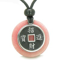 Amulet Lucky Coin Charm MedalliPink Jade ProtectiAntiqued Pendant Necklace