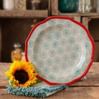 """The Pioneer Woman Happiness 8.5"""" Red Rim Decorated Scallop Shape Salad Plates - Walmart.com"""