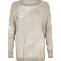 River Island Womens Grey slouchy mesh linen top