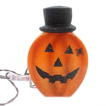 Stony Creek LIGHTED PUMPKIN WITH HAT Glass Spider Jack O Lantern Hol8246 B