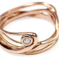 14k Rose Gold Seagrass w/ Diamond Ring, Bands