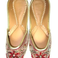 Womens Indian Shoe Traditional Punjabi Jutti Red Embroidered Sequin Beads Work