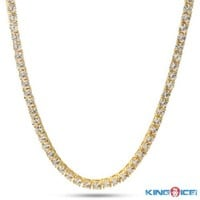 4MM One Row 14K Yellow Gold Plated Round CZ Cubic Zirconia HIP HOP Chain - Pharaoh - Chains