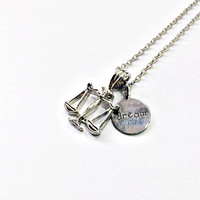 Dream of Justice Necklace: Scales of Justice pendant, hand stamped dream charm