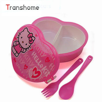 TRANSHOME Heart-Shape Cartoon Lunch Boxes With Fork Spoon Cute Bento Children Box Microwave Cutlery Set Children's lunch box