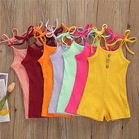Newborn Toddler Baby Boy Girl Cotton Romper Baby Lace-up Summer Sleeveless Cotton Rib-knitted Jumpsuit Clothes Outfits 7 Colors
