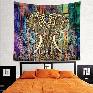 Elephant Tapestry Colored Printed Decorative Mandala Tapestry Indian 130cmx150cm 153cmx203cm Boho Wall Carpet