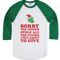 The Grinch Stole-Unisex White/Evergreen T-Shirt