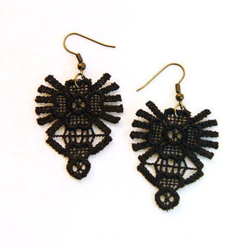 Black Lace Earrings  Lace Jewelry Lace fashion by by AtelierYumi