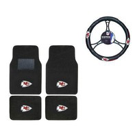 Licensed Official New NFL Kansas City Chiefs Car Truck Carpet Floor Mats & Steering Wheel Cover