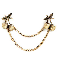 ModCloth Vintage Inspired Cherry Charming Collar Pin
