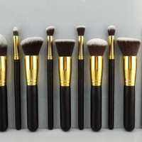 BS-MALL(TM) Makeup Brush Set Premium Synthetic Kabuki Cosmetics Foundation Blending Blush Eyeliner Face Powder Brush Makeup Brush Kit (10pcs, Golden Black)