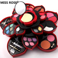 MISS ROSE eyeshadow makeup set 23 colors eye shadow Lip Gloss Blush powder lipstick pencil mascara Rotatable plum blossom shaped
