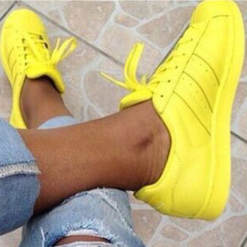 """""""Adidas"""" Fashion Shell-toe Flats Sneakers Sport Shoes Pure color Yellow"""