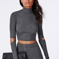 Missguided - Cut Out Elbow Ribbed Jersey Crop Top Grey