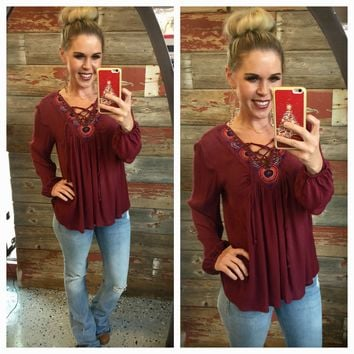 Pretty Ways Blouse: Burgundy
