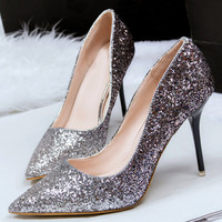 Sequin High Heels Pointed Toe  Pumps