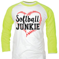 Sassy Frass Softball Junkie Heart Raglan 3/4 Long Sleeve Bright Girlie T Shirt