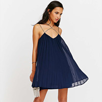 Navy Blue Spaghetti Strap Criss Cross Pleated Mesh Mini Dress