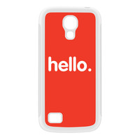 Hello White Silicon Rubber Case for Galaxy S4 Mini by textGuy