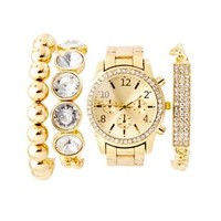 Jeweled Watch & Bracelets - 4 Pack by Charlotte Russe - Gold
