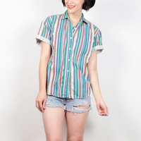 Vintage 90s Shirt Rainbow Striped Cotton Blouse 1990s Soft Grunge Boyfriend Shirt Oxford Shirt Button Down Preppy Shirt Top S Small M Medium