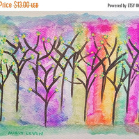 50%OFF Abstract Landscape ORIGINAL Nursary Watercolor Painting, Trees and Flowers painting,colorful Small art, nature Art painting
