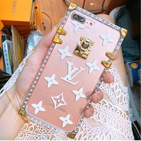 LV Louis Vuitton Fashion Personality Transparent Jelly Crystal iPhone Phone Cover Case For iphone 6 6s 6plus 6s-plus 7 7plus 8 8plus X(3-Color) Black I12216-1