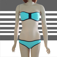 Strapless Block Color Two Piece Swimwear