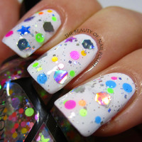 Party Cakes - Neon Glitter Topper With Silver Holo Cupcake Glitter