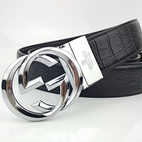GUCCI Simple Retro Crocodile Belt Interlocking Double G Buckle Belt