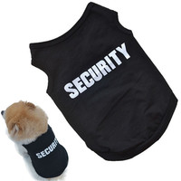 New Fashion Summer Cute Dog Pet Vest Cotton Puppy T Shirt SECURITY print doggy cloth clothing dress drop shipping on sale
