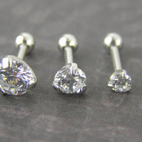 "Set of 3 Clear CZ ""Diamond"" Triple Helix Barbells Bars Earring Studs 16g gauge 1/4"" 3mm, 4mm, 5mm Cartilage Tragus Piercing Jewelry"