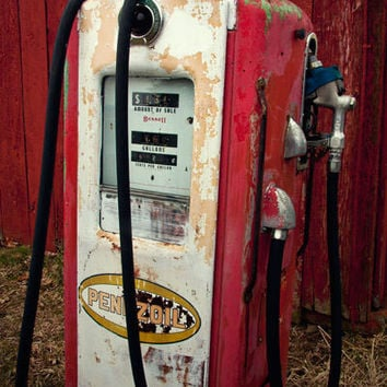 Old Pennzoil Gas Station Pump Photograph - Red Man Cave Garage Art Decor