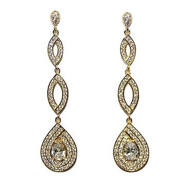 Jevette Linear Gold Chandelier Earrings | 60mm