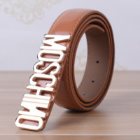 MOSCHINO Fashion Flower Print Contracted Smooth Buckle Belt Leather Belt