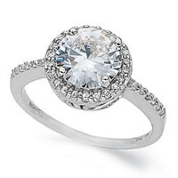 B. Brilliant Sterling Silver Ring, Round Pave-Set Cubic Zirconia Ring (2-1/3 ct .t.w.)
