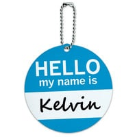 Kelvin Hello My Name Is Round ID Card Luggage Tag