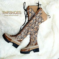Mischief Snake Print Thigh High Lace Up Platform Combat Cyber Boots 6 -11