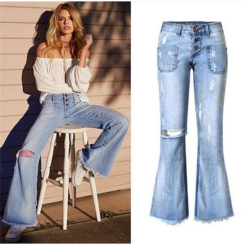 Fashion Ripped Tassel  Low Waist Show thin Flared Jeans