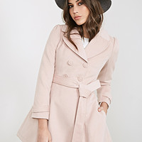 FOREVER 21 Double-Breasted Princess Coat Blush