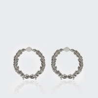 Wreath Stud Earrings Large - silver