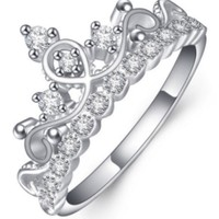 Pandora silver crown ring synthetic rhinestone