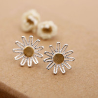 The new 925 sterling silver fashion joker sweet (double color cosmos stud earrings) jewelry