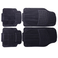 Furnistar 4-Piece Car Vehicle Universal Floor Mats with Black Color, Oval/Line Detail