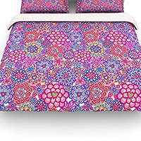 """Kess InHouse Julia Grifol """"My Happy Flowers"""" Queen Cotton Duvet Cover, 88 by 88-Inch"""