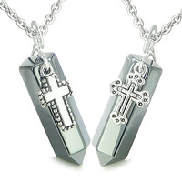 Amulets Energy Holy Cross Charms Love Couple Hematite Crystal Points Pendant Necklaces